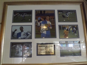 And a plaque in the Wealdstone club house to honour Jermaine Beckfords time at the club.